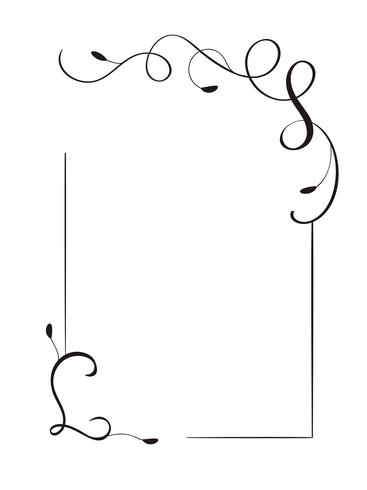 Mão decorativa retrô desenhada quadro de vetor vintage e fronteiras. Design ilustração para livro, cartão, casamento, impressão