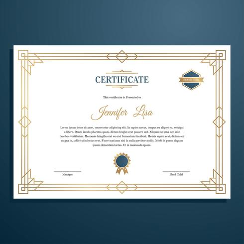 Art Deco Certificate Template Vector