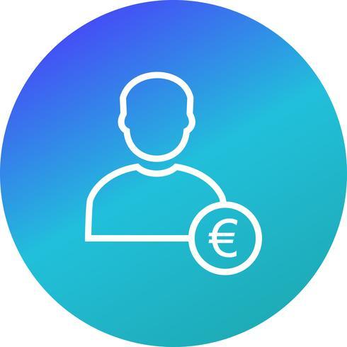 Euro con l'icona di vettore dell'uomo