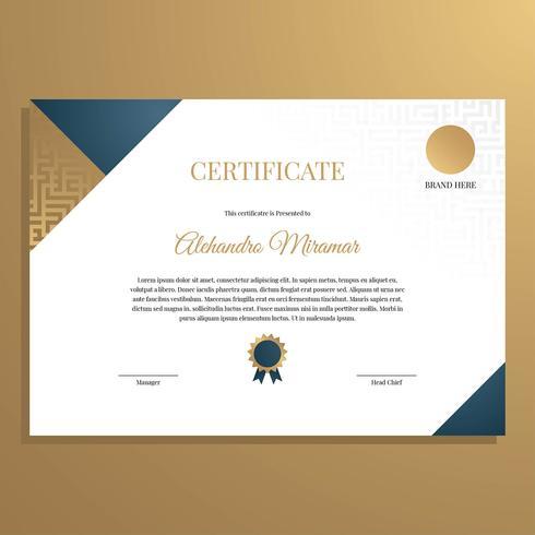Elegante modelo de certificado vector