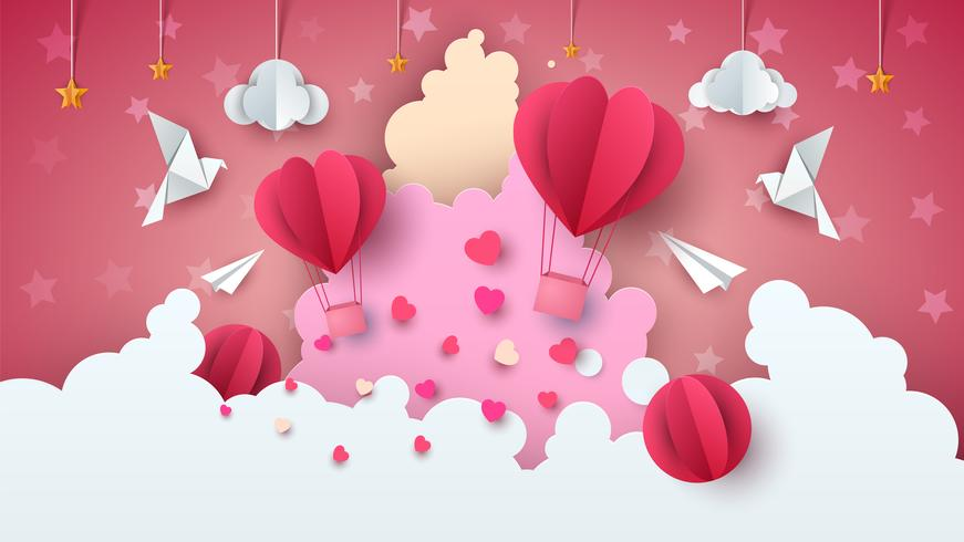 Love balloon illustration. Valentine`s Day. Cloud, star, sky