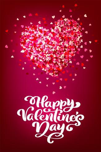 Frase de caligrafia feliz dia dos namorados s com corações. Vector dia dos namorados mão desenhada letras. Cartão do Valentim do projeto da garatuja do esboço do feriado do coração. decoração de amor para web, casamento e impressão. Ilustração isolada