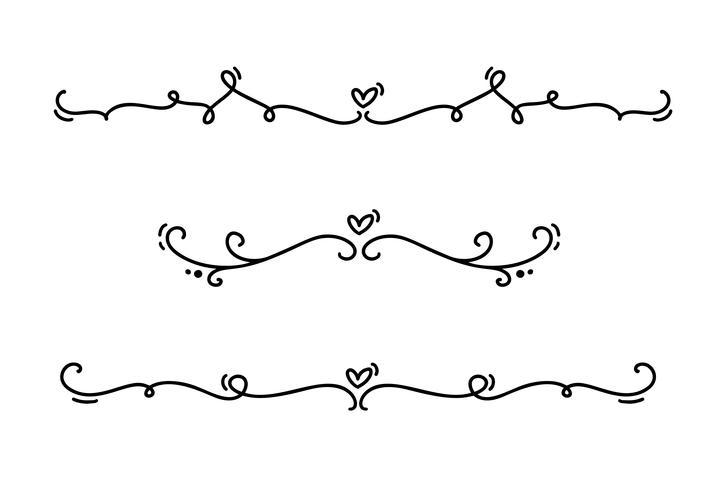 Vector linha vintage divisores elegantes e separadores, redemoinhos e cantos ornamentos decorativos. Linhas florais filigrana design elementos do coração. Flourish curl elementos para convite ou ilustração de página de menu