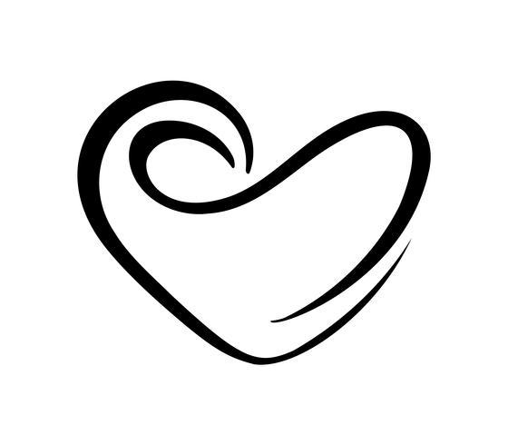 Liefdehart met teken van oneindigheid. Pictogram voor wenskaart of bruiloft, Valentijnsdag, tatoeage, afdrukken. Vectordiekalligrafieillustratie op een witte achtergrond wordt geïsoleerd