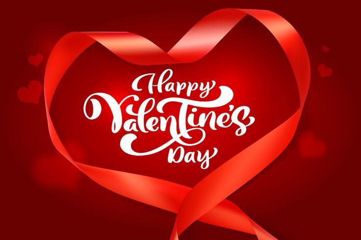 Caligrafía Frase Feliz Día De San Valentín Con Corazones De