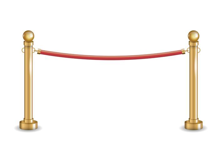 Gouden barrière met rood lint vector