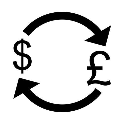 Libra de troca com ícone de vetor de dólar