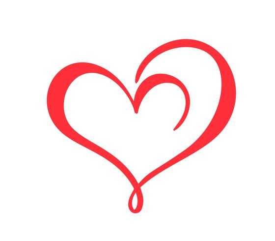 Mão desenhada sinal de amor do coração. Caligrafia romântica vector ilustração ícone símbolo para t-shirt, cartão postal, casamento de pôster. Elemento plano de design do dia dos namorados