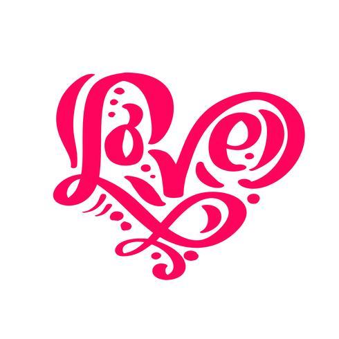 Kalligraphiewort Liebe. Vektor-Valentinsgruß-Tageshand gezeichnete Beschriftung