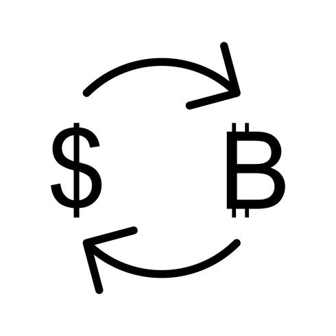 Exchange Bitcoin With Dollar Vector Icon