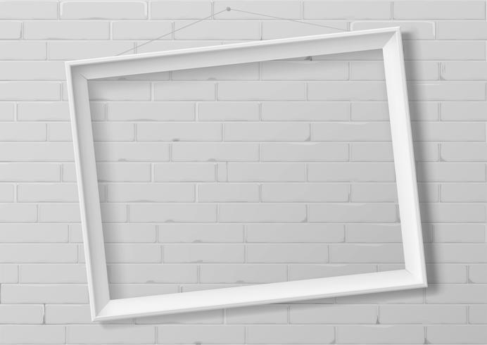 Horizontal white thin photo frame vector