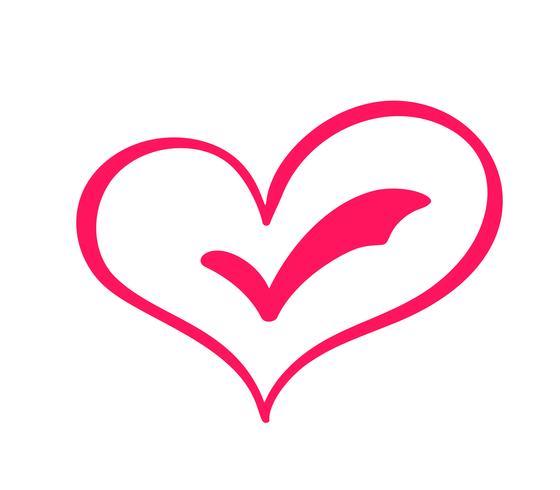 Mão desenhada eleições de sinal de amor de coração. Caligrafia romântica vector ilustração ícone símbolo para t-shirt, cartão postal, casamento de pôster. Elemento plano de design do dia dos namorados