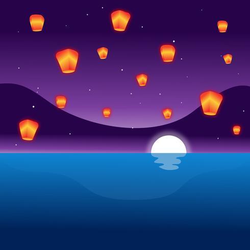 Lanterne De Ciel De Taïwan vecteur