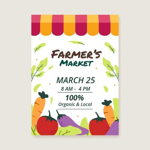 Landwirtmärkte Flyer Vorlage Vektor