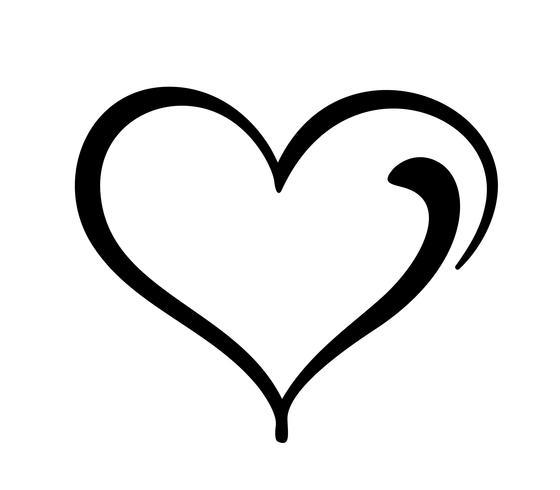 Hand getekend hart liefde teken. Romantisch kalligrafie vector illustratie pictogram symbool voor t-shirt, wenskaart, poster bruiloft. Ontwerp platte element van dag van de Valentijnskaart