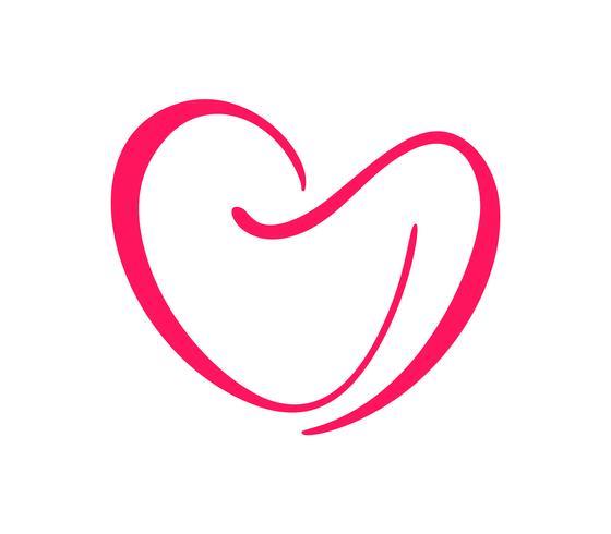 Handritad Hjärta kärlekstecken Valentinsdag. Romantisk kalligrafi vektor illustration ikon symbol för t-shirt, hälsningskort, affisch bröllop. Design platt element av valentinsdagen