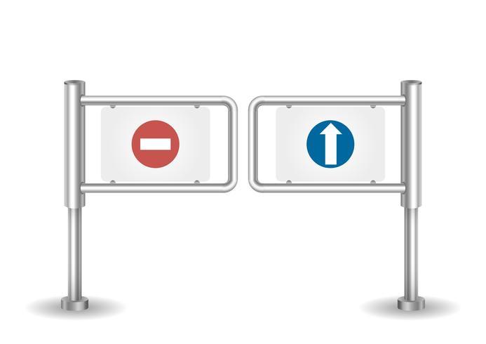 Eingabe von Drehkreuzkontrollpunkten aus Metall für Besucher oder Passagiere vektor