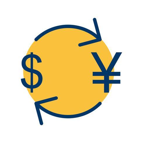 Iene de câmbio com ícone de vetor de dólar
