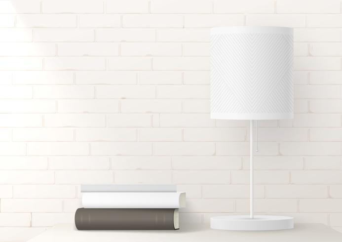 lampada luminosa su un muro di mattoni
