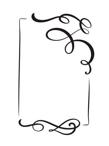 Molduras decorativas mão desenhada vector vintage e fronteiras. Ilustração de ornamento de design para livro, cartão, casamento, impressão