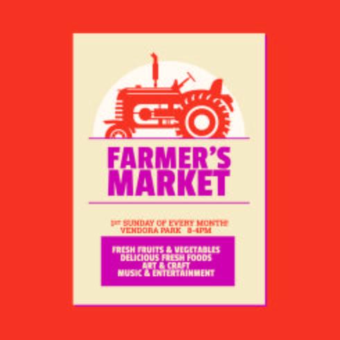 Modèle d'invitation affiche du prospectus de marché de l'agriculteur. Basé sur le vieux tracteur agricole