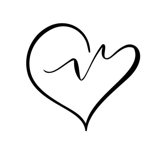 Icona di vettore di logo cuore e battito cardiaco. Simbolo di cuore moderno isolato per centro medico di cardiologia o carità, amore di San Valentino o progettazione della moda cartolina d'auguri di nozze per applicazione rete sociale web