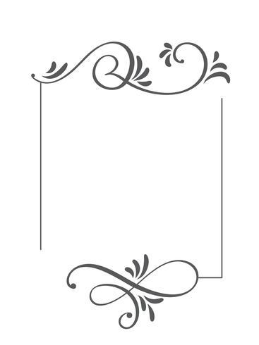 Quadro e beiras tirados mão decorativos do vetor do vintage da caligrafia. Design ilustração para livro, cartão, casamento, impressão