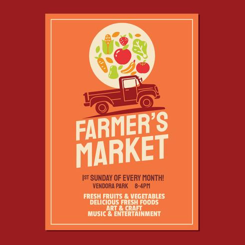 Farmer's Market Flyer Poster Invitation Template Based On Old Style Farmer's Pickup Truck