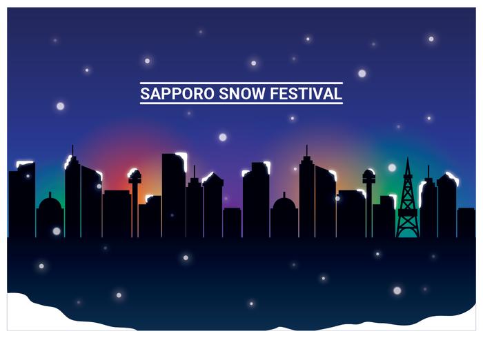 Festival de la nieve de Sapporo con fondo de la ciudad vector