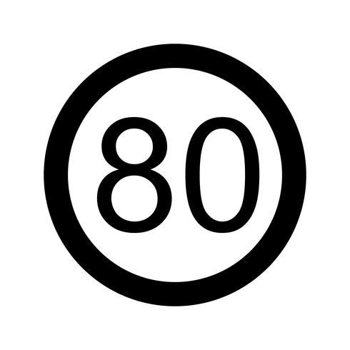 Icône de vecteur vitesse limite 80