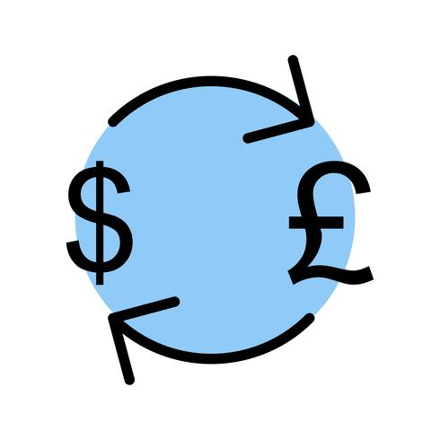 Austausch-Pfund mit Dollar-Vektor-Ikone