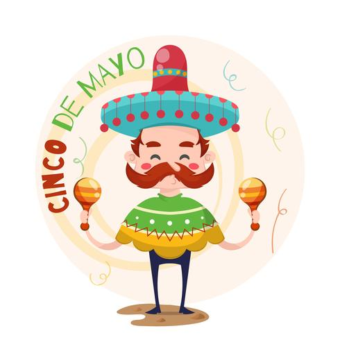 Fondo de cinco de mayo con músico mexicano.
