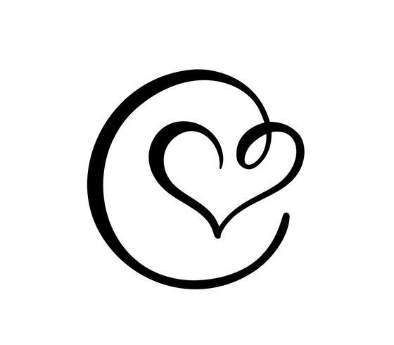 Hand gezeichnetes Herzliebeszeichen. Romantisches Kalligraphievektorillustrations-Ikonensymbol für T-Shirt, Grußkarte, Plakathochzeit. Flaches Element des Designs des Valentinstags