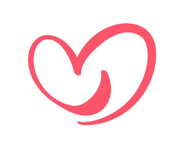 Segno di amore cuore disegnato a mano. Simbolo romantico dell'icona dell'illustrazione di vettore di calligrafia per la maglietta, cartolina d'auguri, nozze del manifesto. Design piatto elemento del giorno di San Valentino
