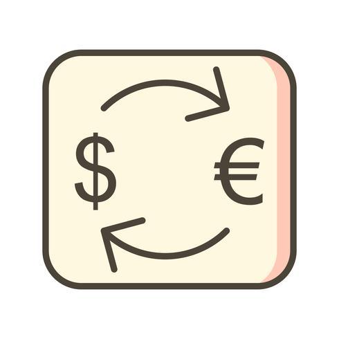 Scambi l'euro con l'icona di vettore del dollaro