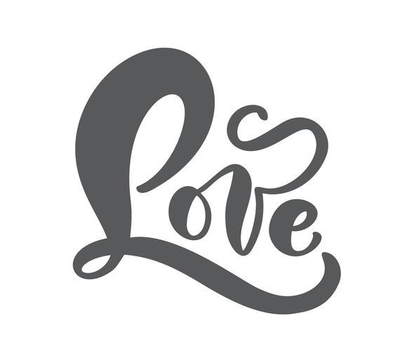 Concetto scritto a mano del biglietto di S. Valentino dell'iscrizione dell'inchiostro di vettore di amore rosso. Calligrafia moderna disegnata a mano di pennello. Isolato su sfondo bianco, illustrazione di progettazione per biglietto di auguri, ma