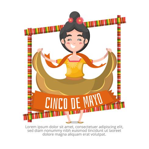 Cinco de mayo background with woman dancing