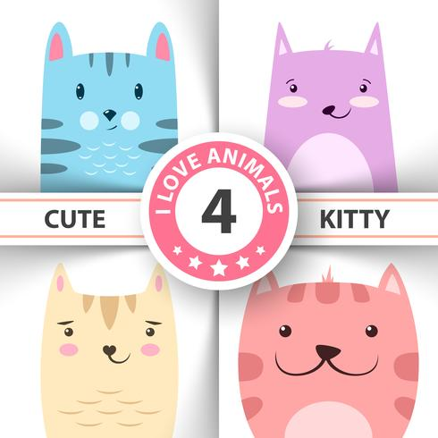Cute, funny kitty, cat characters. vector