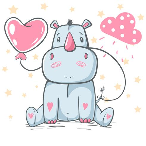 Rhino, rhinoceros cartoon cute characters. vector