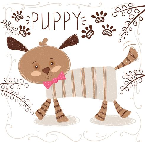 Cute, funny dog - cartoon illustration. vector