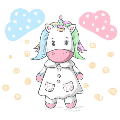 Linda, divertida, fresca, fina ilustración de unicornio.
