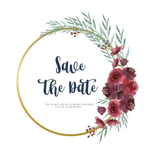 Guirnaldas de flores de acuarela pintadas a mano con borde de marco de texto, exuberante florales acuarelas aisladas sobre fondo blanco. Diseño de decoración para la tarjeta, guardar la fecha, tarjetas de invitación de boda, cartel, banner.