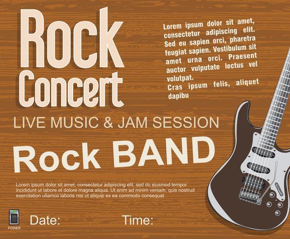 Fond vintage rétro de concert rock vecteur