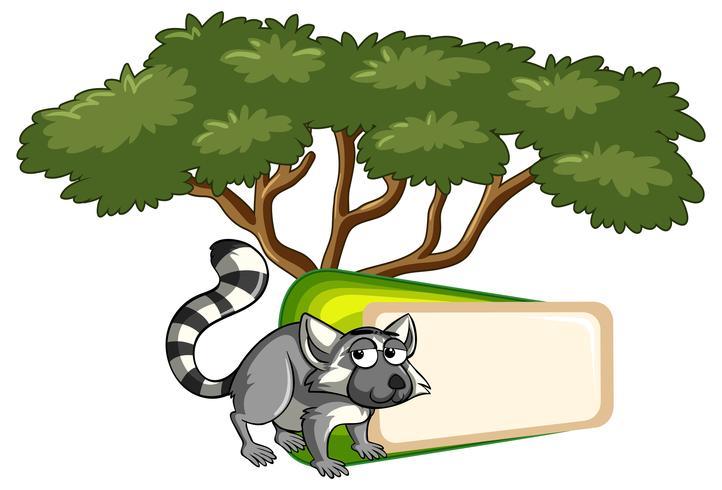 Bannermalplaatje met maki onder de boom