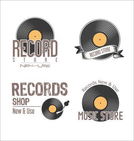Rekordbutik retro vintage bakgrund vektor