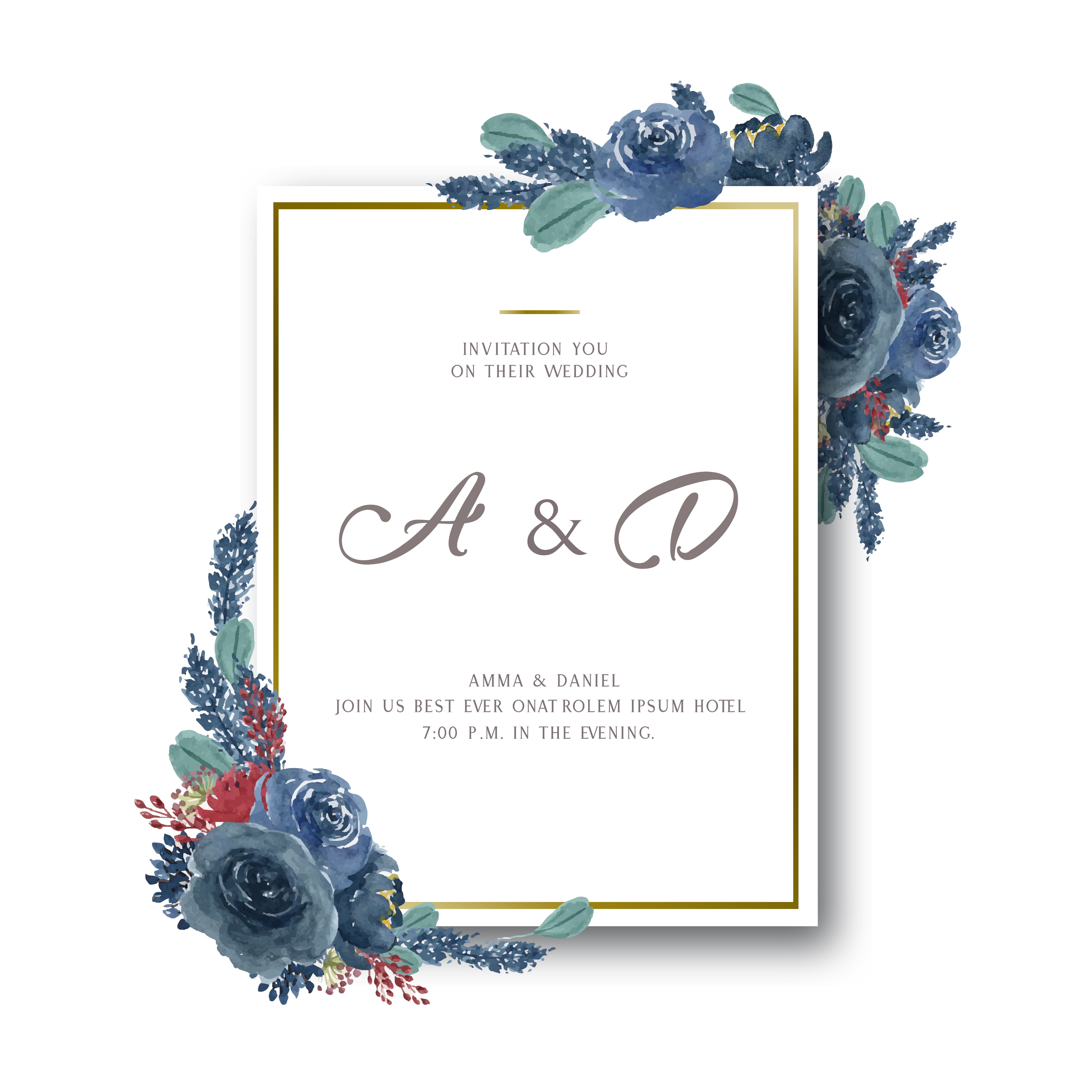 White Wedding Espa L: Watercolor Florals With Text Frame Border, Lush Flowers