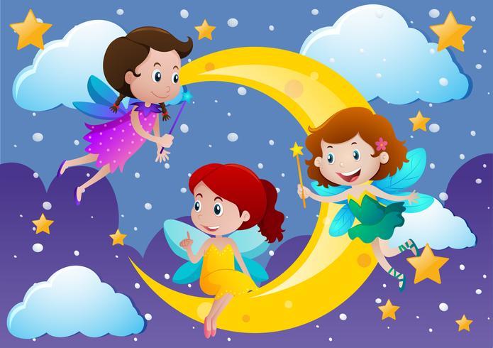 Drie feeën vliegen over de maan
