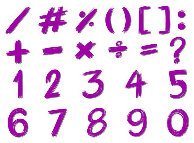 Zahlen und Zeichen in lila Farbe