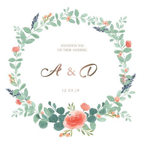 Kranzaquarellblumen handgemalt mit Textrahmengrenze, üppiges Blumenaquarell lokalisiert auf weißem Hintergrund. Entwerfen Sie Dekor für Karte, speichern Sie das Datum, Hochzeitseinladungskarten, Plakat, Fahne.
