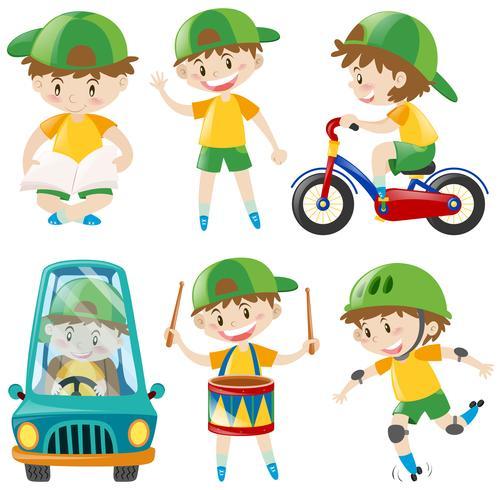 Jongen met groene hoed die verschillende dingen doet